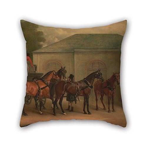 (16 X 16 Inches / 40 by 40 cm Oil Painting John Ferneley - The Drag of Sir Watkin Williams Wynn Throw Pillow Covers Two Sides Ornament and Gift to Relatives Car Wife Teens Girls Car Seat Girls)