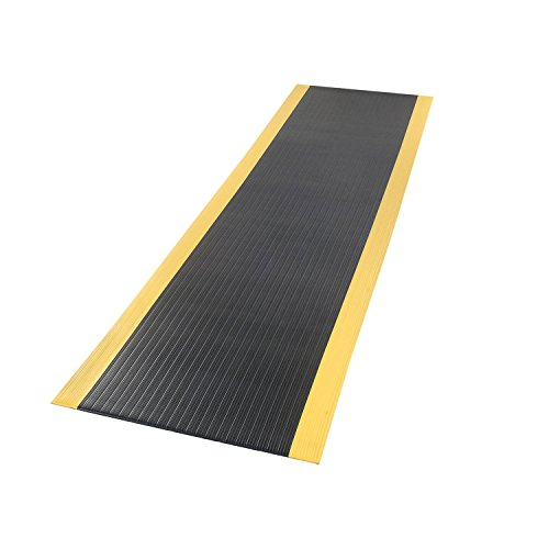 (Apache Mills Ribbed Surface Mat, 4 Foot Wide 60 Foot Roll Black With Yellow Borders)
