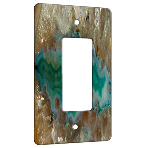 Agate Crystal Turquoise - Decor Switch Plate Cover Metal (1 Gang Decora/GFCI)