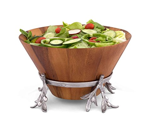 Arthur Court Tall Wood Salad Bowl in Metal Stand, 7 inches tall, Sand-Cast Aluminum Stand Included; Olive Pattern