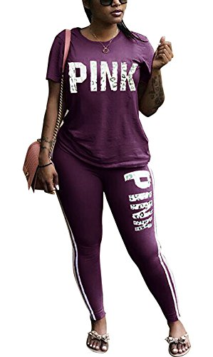 DingAng Women Letter Print Short Sleeve Solid Sweatshirt Long Pant Jumpsuits 2 Piece Outfits (Print Jumper Set)