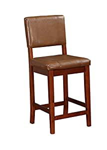 Amazon Com Linon Milano Counter Stool Russet Kitchen