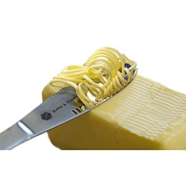 Butter Knife 403 Stainless Steel Food Grade, Butter Spreader and Butter Curler As Magic, Roll The Butter Up and Never Tear Your Toast, Best Butter Grater Innovation.