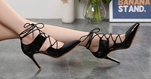Talon Sexy Haut Femme Escarpins À Lacets Noir Cross Aisun Aiguille aqUpx7qw