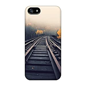 New CaroleSignorile Super Strong Train Tracks In Fog Cases Covers For Iphone 5/5s