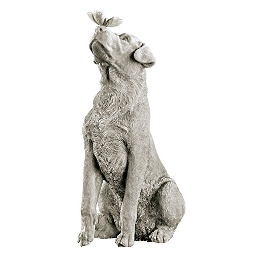 Collections Etc Dog and Butterfly Outdoor Animal Garden Statue ()