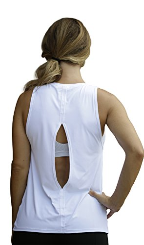 Loose Fitting Yoga Muscle Tank with Keyhole Open Back Workout Tank