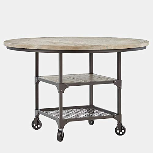 - Iron Base Dining Table - Dining Table with Wood Top - Bronze