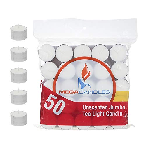 Mega Candles 100 pcs Unscented White Jumbo Tea Lights Candle | Pressed Wax Candles 8 Hour Burn Time | for Home Décor, Wedding Receptions, Baby Showers, Birthdays, Celebrations, Party Favors & More ()