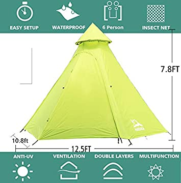 Hasika 12fx10x8ft Lightweight Double Layers Waterproof Anti-UV Windproof 4 Season Dome Family Outdoor Camping Tent 4-6 Person Not Contains Pole