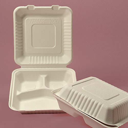 Biodegradable Clamshell Take Out Containers 9'' X 9'' - Restaurant Supplies - 200 each by Paper Mart