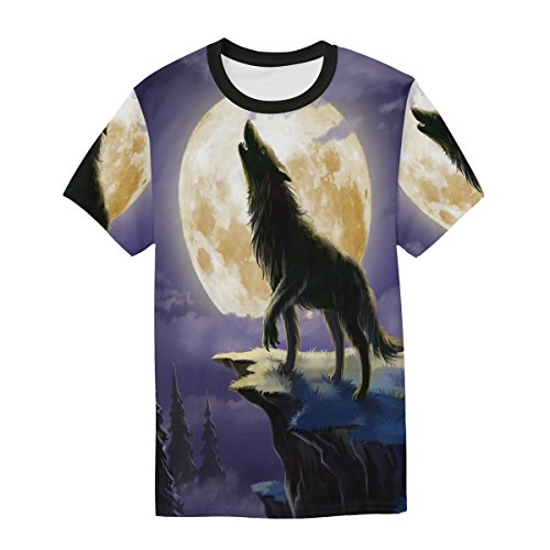 casual Moon and Wolf manica Alaza Multicolor Night corta Man shirt T 86Hw55