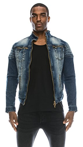 Angel Cola Men's Biker Slim Fitted Distressed Washed Denim Jacket Blue S