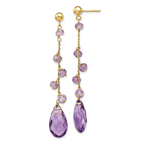 - 14k Yellow Gold Purple Amethyst Drop Dangle Chandelier Post Stud Earrings Fine Jewelry Gifts For Women For Her