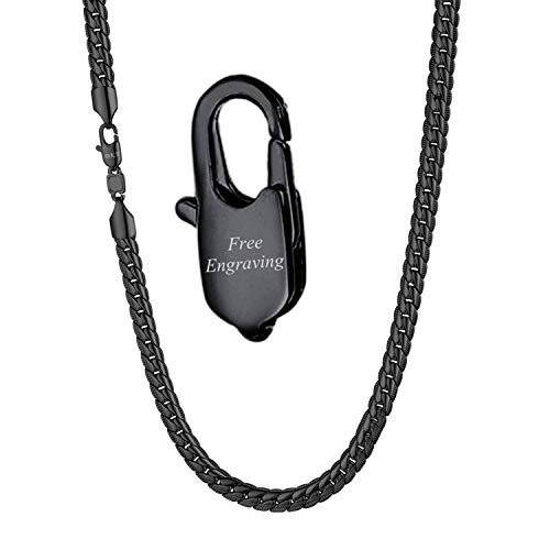 (U7 Men Personalized Snake Chain with Engrave Service Ion Plating Black 6MM Wide Thick Link Necklace 20