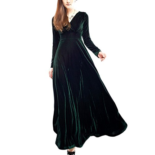 YYF Femme Robe Longue avec Manche Longue en coton Cadeau pour votre femme vert fonc