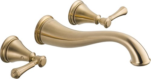 Delta Faucet T3597LF-CZWL Cassidy Two Handle Wall Mount Bathroom Faucet Trim, Champagne Bronze
