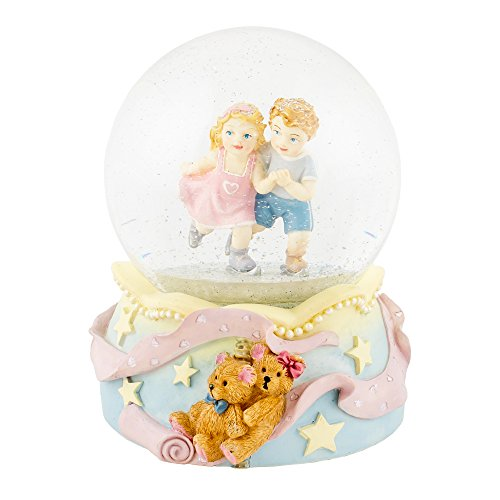 Ice Skating Boy Girl Pair 100mm Resin Water Globe Plays Tune Side By Side
