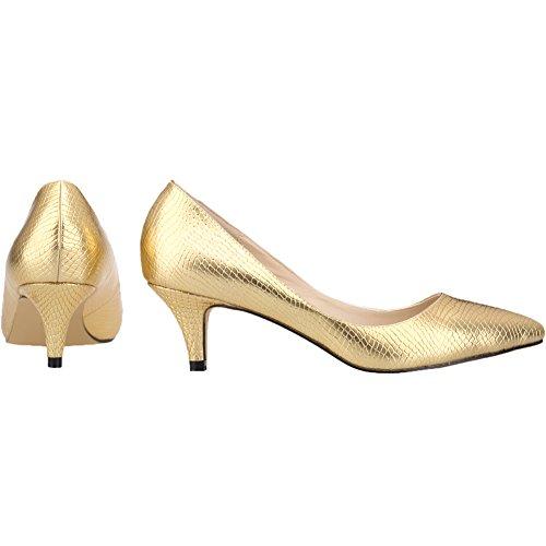 Loslandifen Womens Bout Pointu Bas Mi-talon Chaussures De Crocodile Cour Robe Chaussures Or