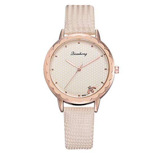 Artificial Leather Band Fashion Simple Casual Ladies Watch Bee Home Dial Leather With Strap Ladies Watch Round Analog Watch(Beige)