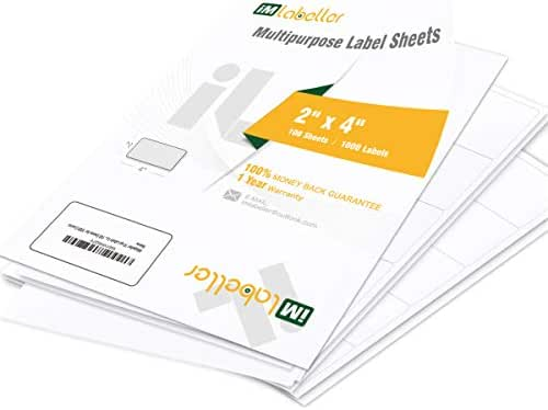 iMlabeller 10 up Labels Laser and Inkjet White Mailing Shipping Organizing and Filing 2x4 Labels 10 per Page, 100 Sheets for 1000 Counts