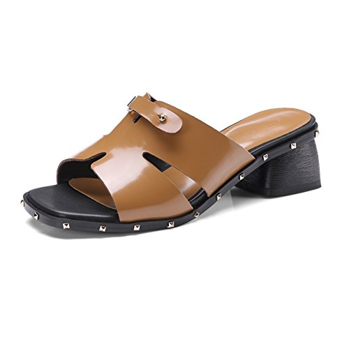 KJJDE Zapatos con Plataforma Mujeres WSXY-L0508 Hebilla Superior Sandalias Mujer Zapatilla Chanclas de Moda Confort Peep Toe Tacón Zapatos Para Caminar Yellow