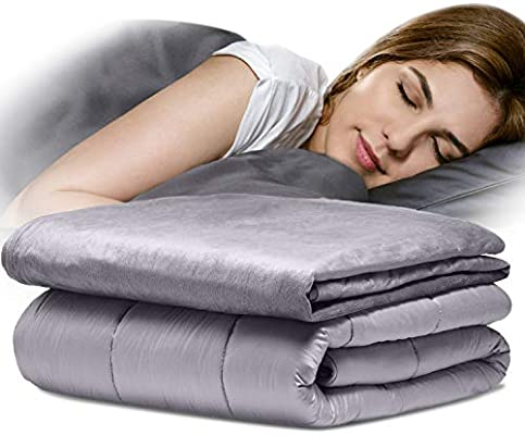 Weighted Blanket Cotton Cover Gravity Sensory Sleep 7lbs~ 20lbs