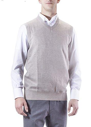 Alberto Cardinali Men's Solid Color V-Neck Sweater Vest SVS1 (Small, Beige) Cotton Rib V-neck Sweater