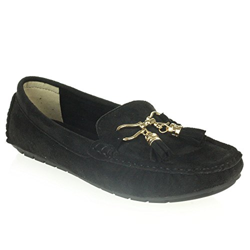 Womens Ladies Comfort Casual Office Work Loafer Moccasins Closed Toe Slip-On Flat Shoes Size Black