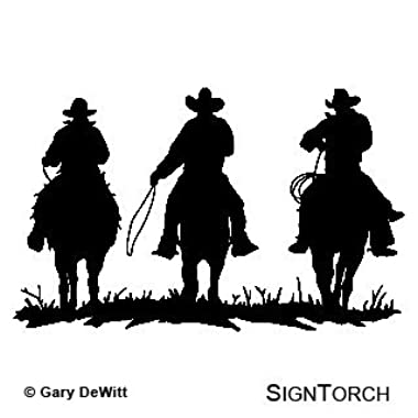 COWBOY COWBOYS HORSE RIDERS WESTERN WALL DECAL HOME DECOR SILHOUETTE LARGE 20  X 33