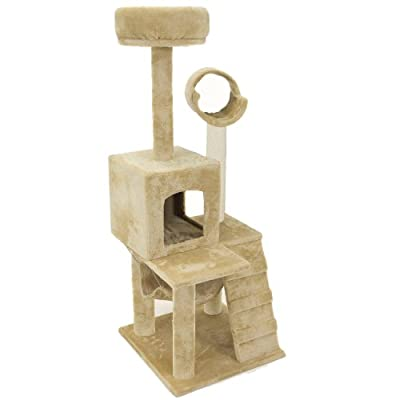 "52"" Cat Tree Cream Condo Deluxe Small Scratcher Furniture Kitten House Hammock by Planet International"