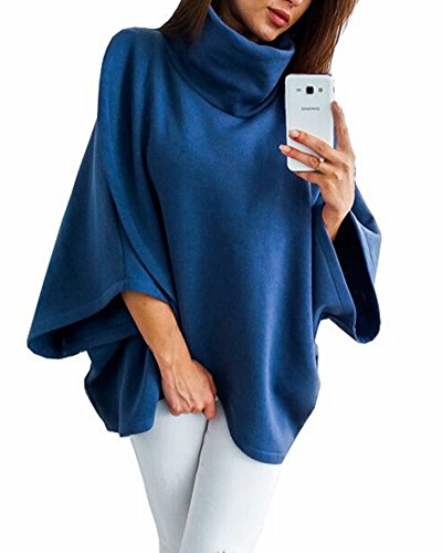 ZJFZML Handkerchief Tunic Tops For Women, Womens 3 4 Sleeves High Collar Asymmetric Hem Nice Tops Breathable Blouse Classy Oversized Lightweight Knit Sweatshirt Outfit With Pockets Blue XL - 3/4 Sleeve Cowl Neck Sweater