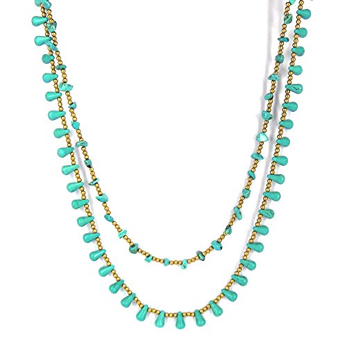 AeraVida Harmonius Cascades Simulated Turquoise Stones Statement Necklace by AeraVida