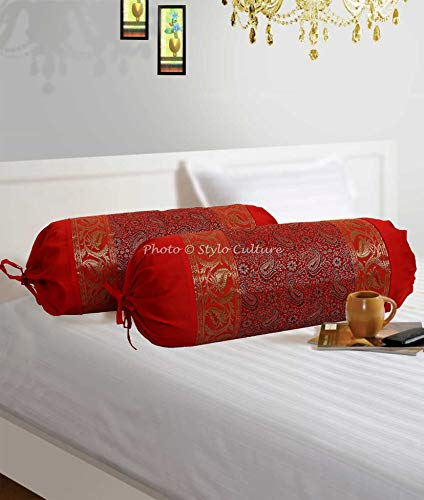 (Stylo Culture Traditional Polydupion Cylindrical Tube Pillow Bolster Pillow Covers Red Jacquard Brocade Border Paisley Large Couch Round Cylinder Cushion Covers (Set of 2) | 30x15 Inches (76x38 cm) )