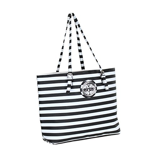 Black & White Stripe Large Lined Shoulder Tote (Front Pocket Tall Tote Handbag)