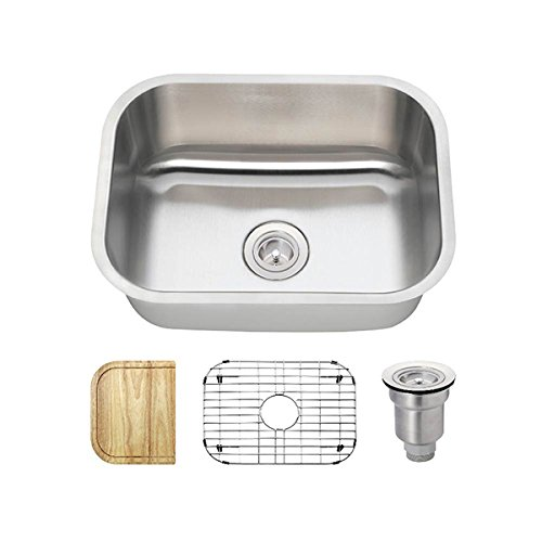 2318 16 Gauge Stainless Steel Kitchen Ensemble Bundle – 4 Items Sink, Basket Strainer, Sink Grid, and Cutting Board