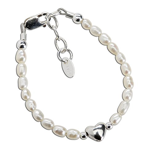 (Baby Girls or Children's Sterling Silver Dainty Cultured Pearl Bracelet Accented with Silver)