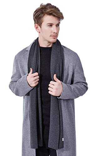 KUMONE Men Scarf Winter Cashmere Wool Scarves with Gift Bag, Dark (Mens Wool Knit Scarf)