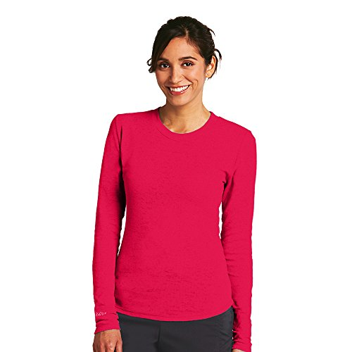 KD110 Women's Long Sleeve Pieced Back Burnout Thermal T-Shirt Large X-Small