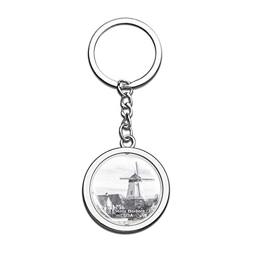 USA Santa Barbara Sketch Keychain 3D Crystal Spinning Round Stainless Steel Keychains Travel City Souvenirs Key Chain Ring