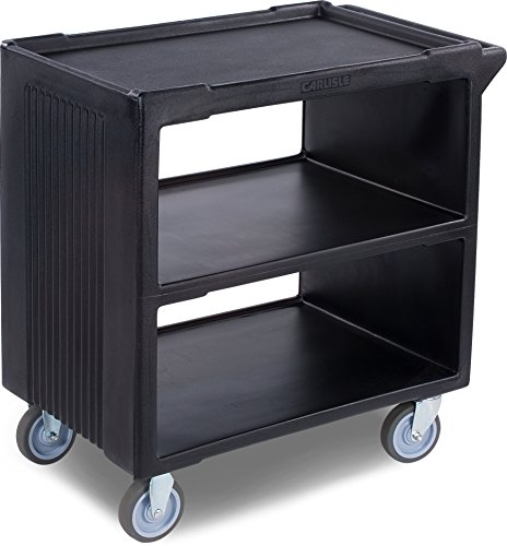 Carlisle SBC23003 Polyethylene Service Cart with 2 Fixed Casters and 2 Swivel Casters, 33.63'' L x 20.25'' W x 34.25'' H, Black by Carlisle