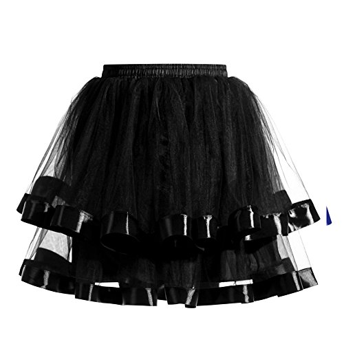 Gloa Women Double Layers Vintage Tutu Petticoat Gauze Skirt Prom Evening Party Dress - Black