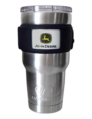 John Deere LiT Stainless Steel Construction Logo Travel Tumbler 30oz Water Bottle, Medium, Silver