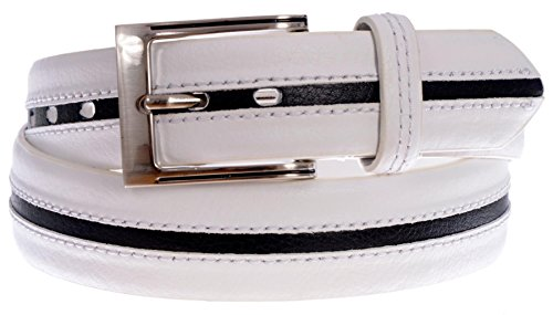 PGA TOUR Men's Leather Stripe Textured Belt with Silver Tone Buckle (White, Black, (Pga Tour Leather)