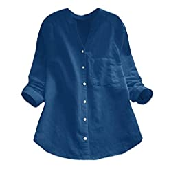 Women's Cotton Linen Shirt,Ladies Long S...