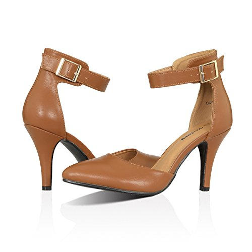 Yeviavy Women's High Heel Pumps Stiletto Pointy Toed D'Orsay Dress Buckle Closure Ankle Strap Shoes Lucia Dark Tan PU 8