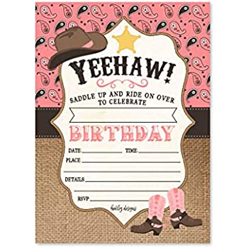 25 Pink Cowgirl Kids Birthday Or Slumber Party Invitations Girl Sleepover Rodeo Horse Themed Invites Bandana Children Or Toddlers Bday Theme
