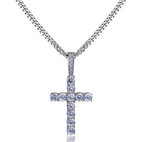 (TOPGRILLZ 14K Gold&Silver Plated Iced Out CZ Lab Cubic Zirconia Lion Cross Pendant Neckace Mens Stainless Steel)