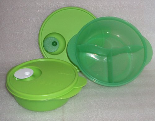 Tupperware Green CrystalWave Microwave 2c Bowl + Divided Lunch Dish Plate Set