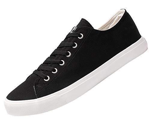 Fear0 Unisex True to Size Black White Tennis Casual Canvas Sneakers Shoes for Mens 12 D(M) US Men